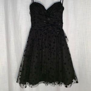 Strapless black polkadot dress